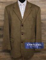 Cortefiel Classic Mens Brown Wool Herringbone 3-BTN Blazer Sport Coat Jacket 44R