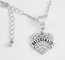Bridesmaid Necklace  charm Crystal Heart Charm Necklace European style best gift