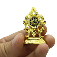 1:12 Miniature Golden Clock Dollhouse Diy Doll House Decor Accessories WW