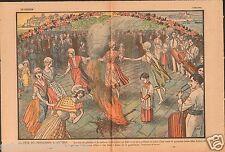 Fête du Printemps à Antibes Galoubet & Tambour Provence 1930 France ILLUSTRATION