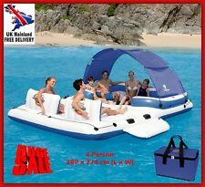 Inflatable Floating Island Lounger Raft Boat Beach Pool Sea Sun Tent Cup Holder