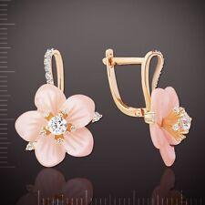 Russische Rose Rotgold 585 Ohrringer mit Perlmutt. Blume. Neu  Glänzend.