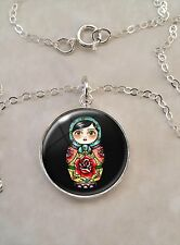 Sterling Silver 925 Pendant Necklace Russian Nesting Doll Babushka Matryoshka