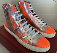 $600 Bally Hensel 49 Silver and Orange High Tops Sneakers size US 12