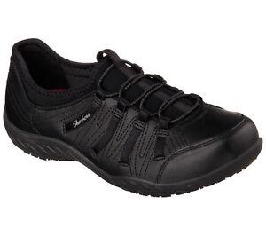 76578 Skechers Women's Work: Rodessa SR Relaxed Fit Slip On Shoes Black BLK A3