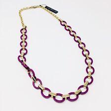 Ann Taylor NWT $48 Purple Enamel & Gold Chain Link Statement Necklace
