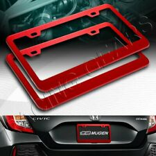 2 X CAR AUTO METAL LICENSE PLATE FRAME HOLDER RED ALUMINUM ALLOY FRONT & REAR