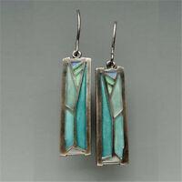 Fashion 925 Silver Multi-Color Gemstone Women Earrings Ear Hook Dangle Drop