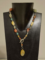 Necklace Natural Agate Stone Pendant Front Toggle Silver Beaded Necklace