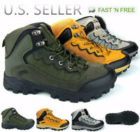 Men's Hiking Boots Trail Camping Outdoor Shoe Mixed Upper Ankle High Top Lace-Up