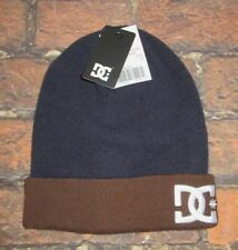 MENS DC SHOES BEANIE HAT BLUE BROWN CAP ONE SIZE