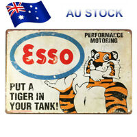Esso Petrol Tiger Motor Oil Old Vintage Tin Metal Sign Advert Retro Garage Pub ☆