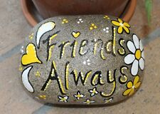 "Hand Painted Large Rock By Deb Rottum  ""Friends Always""  Rock Art"