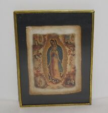 "Holy Mary of Guadalupe Lithograph on Bark Paper in Frame Vintage 5"" X 3-1/2"""