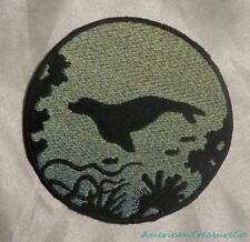 Embroidered Seal Ocean Sea Silhouette Ombre Circle Patch Iron On Sew On USA
