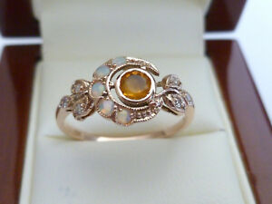 9ct Solid Rose Gold Citrine, Opal, Diamond Moon Ring, Victorian, R25 Custom