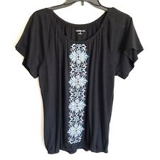 Croft & Barrow Black Embroidered Boho Peasant Top Short Sleeves M