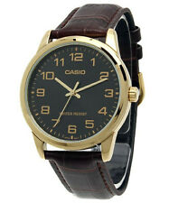 Casio Mens Black and Gold Analog Watch With Brown Leather Band Mtp-v001gl-1b