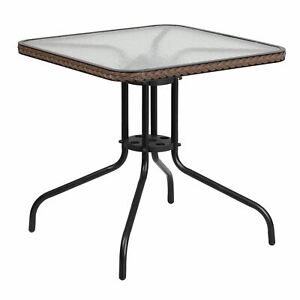 """Flash Furniture 28"""" Square Tempered Glass Metal Table with Rattan Edging, Multip"""
