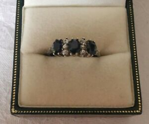 Vintage Sterling Silver Sapphire and CZ Pretty Ring, Size P