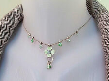 NEW PILGRIM SILVER PLATED NECKLACE SWAROVSKI CRYSTALS GREEN ENAMEL DAISY FLOWER