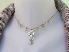 NEW PILGRIM SILVER NECKLACE SWAROVSKI CRYSTALS GREEN ENAMEL DAISY FLOWER vintage
