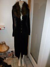 LADIES  LONG  BLACK MIX VELVET COAT SIZE 10