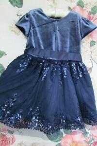 BNWOT Blue Velvet SEQUIN Tulle Party Occasion Dress M&S 2-3 Marks & Spencer