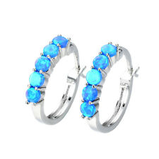 Exquisite Round Cut Blue Fire Opal Silver Plated Ear Buckle Women Fashion Gift