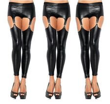 Sexy PVC Wet Look Party Fetish Rocky Horror Suspender Stockings Tights, UK: 8-10