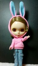 Blythe Doll Outfit Clothing Rabbit head Hat Long Sleeve Tee Hoody (pink)