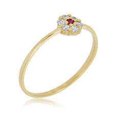 10K Yellow Gold 0.06 CTTW Red Cubic Zirconia CZ Flower Ring for Babies and Child