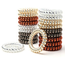 4PCS Women Gold/Silver Elastic Rubber Telephone Wire Hair Bands Ponytail Holder