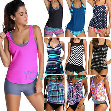 Women Two Piece Sporty Tankini Set Beach Swimwear Top Shorts Plus Size Swimsuit