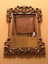 STUNNING  VINTAGE HUGE GOLDEN GILT ORNATE  WALL HANGING MIRROR 24 x 17""