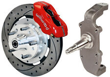 "WILWOOD DISC BRAKE KIT & 2"" DROP SPINDLES,FRONT,55-57,12"" DRILLED,RED,HEIDT'S"