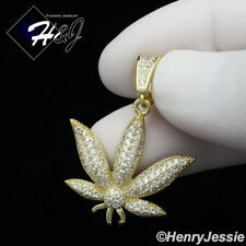 MEN WOMEN 925 STERLING SILVER LAB DIAMOND ICED GOLD MARIJUANA LEAF PENDANT*GP173