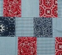Michael Miller Bandana Cheater Cotton Quilting Fabric Red White Blue USA 1 YARD