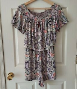 Parker Womens Ivory Silk Paisley Off The Shoulder Flounce Romper Size Small READ