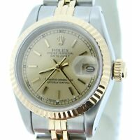 Rolex Datejust Ladies 2Tone 18K Gold Stainless Steel Watch Champagne Dial 69173