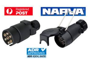 NARVA Trailer Connector 7 Pin Large Round Plastic Socket & Plug 82054BL 82181BL