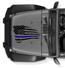 Thin Blue Line Police Jeep Wrangler Decal Tattered Distressed USA American Flag