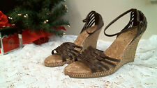 DIBA EAST Sandals  size 9 M BROWN Wedge ankle strap open toe casual Career