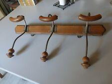 ANCIEN PORTE MANTEAUX vestiaire 3 PATÈRES bois et métal