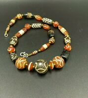 Himalayan Antique Etched  Agate Stripe Dzi  Beads Necklace Mala
