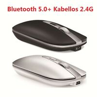 2.4 GHz Wireless+Bluetooth5.0 Mouse Rechargeable USB Cordless Mice for PC Laptop