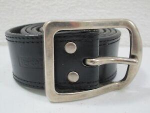 Mens Levis Black Leather Belt Size 38 Silver Buckle