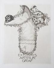 Alfred Cossmann  Ex libris Arthur Graf. 1912 Radierung Etching Exlibris