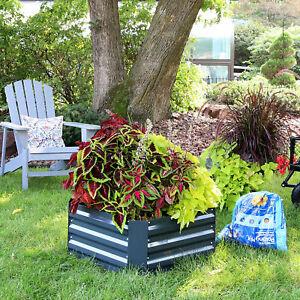 Sunnydaze Galvanized Steel Raised Garden Bed - 24-Inch Square - Dark Gray