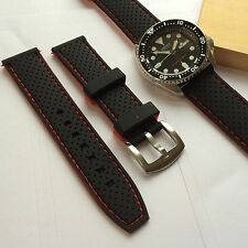22mm Replacement Black Red Silicone Rubber Diver Watch band strap fit seiko dive